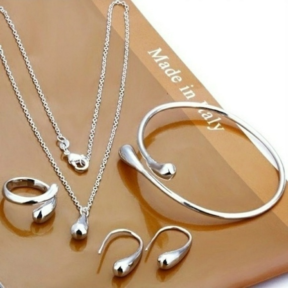 Poshology 19 Jewelry - Sterling Silver Bracelet Necklace Earrings Ring